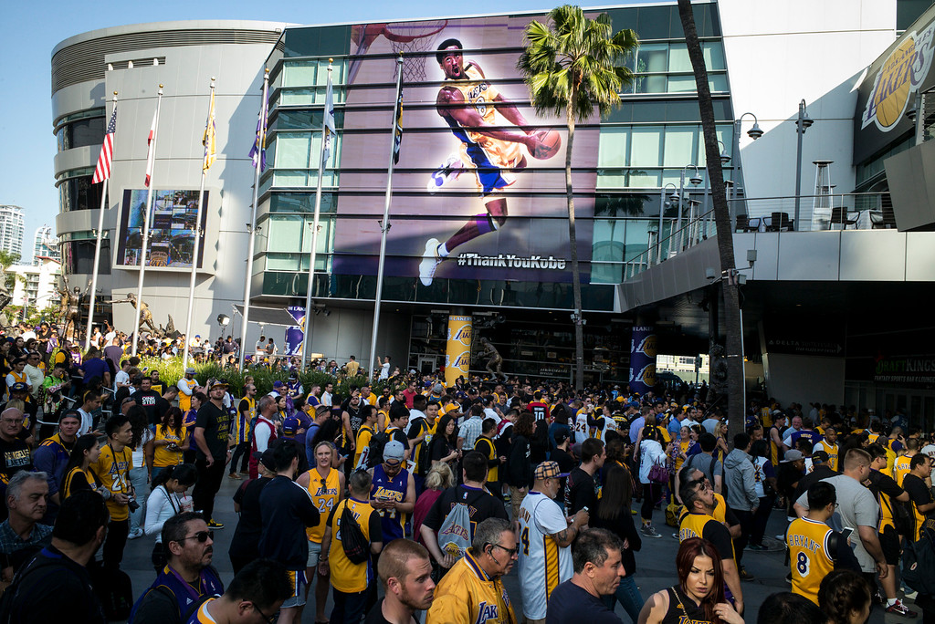 . Laker fans line up outside of Staples Center before Kobe Bryant\'s last game.   (Photo by David Crane/Southern California News Group)