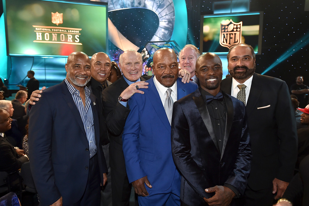 . Lynn Swann, from left, Hines Ward, Terry Bradshaw, Jim Brown, Archie Manning, Santonio Holmes and Franco Harris pose in the audience at the 5th annual NFL Honors at the Bill Graham Civic Auditorium on Saturday, Feb. 6, 2016, in San Francisco. Swann was named USC�s athletic director on Wednesday, April 13, 2016.  (Photo by Jordan Strauss/Invision for NFL/AP Images)
