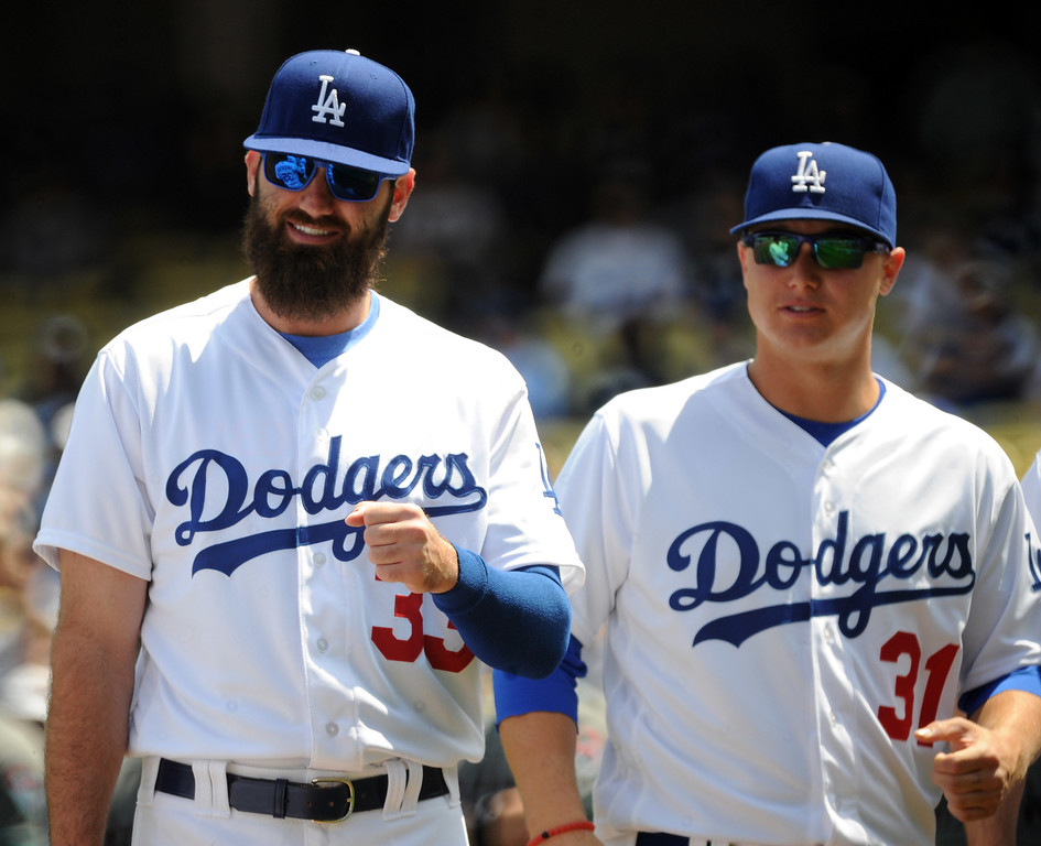 . Los Angeles Dodgers\' Scott Van Slyke (33) along with Joc Pederson (31) during pregame ceremonies prior to Opening Day of a Major League Baseball game on Tuesday, April, 12, 2016 in Los Angeles.  (Photo by Keith Birmingham/ Pasadena Star-News)