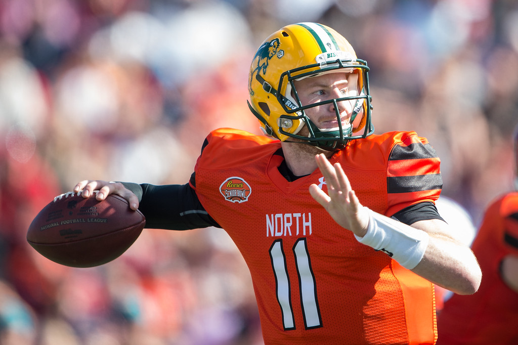 . North team\'s quarterback Carson Wentz #11 with North Dakota State looks to throw a pass during their game against the South Team on January 30, 2016 at Ladd-Peebles Stadium in Mobile, Alabama.   The LA Rams are reportedly eyeing Wentz as a possible No. 1 pick in the NFL Draft. (Photo by Michael Chang/Getty Images)