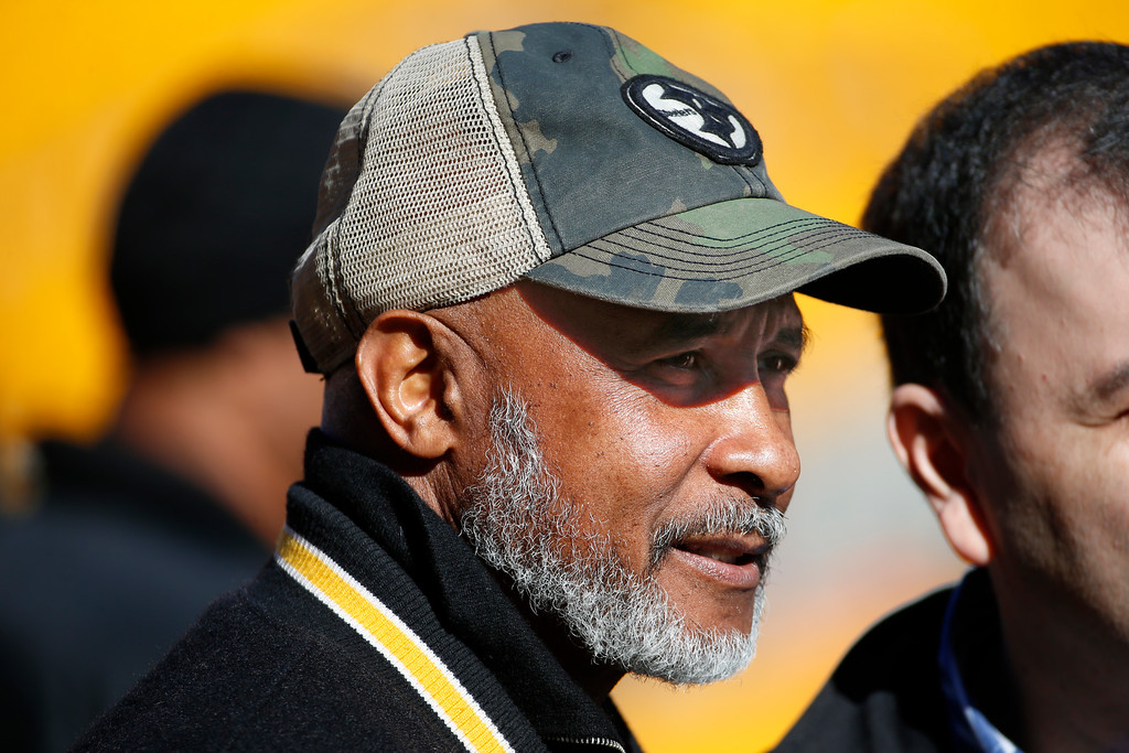. Pittsburgh Steelers Pro Football Hall of Fame wide receiver Lynn Swann stands on the sidelines before an NFL football game between the Pittsburgh Steelers and the Cleveland Browns, Sunday, Nov. 15, 2015, in Pittsburgh. Swann was named USC�s athletic director on Wednesday, April 13, 2016.   (AP Photo/Gene J. Puskar)