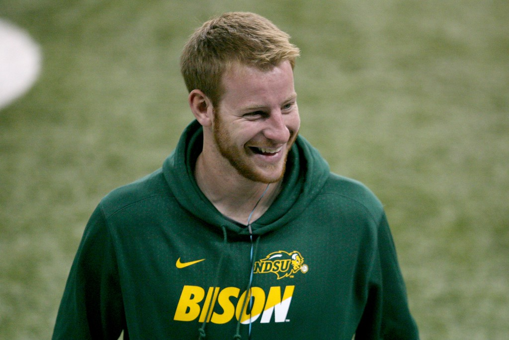 . North Dakota State quarterback Carson Wentz is seen during the school\'s NFL football pro day, Thursday, March 24, 2016, in Fargo, N.D. The LA Rams are reportedly eyeing Wentz as a possible No. 1 pick in the NFL Draft. (AP Photo/Bruce Crummy)