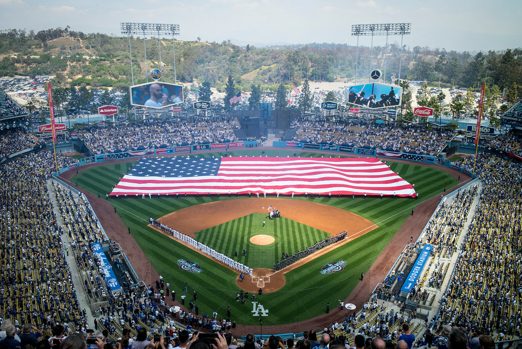 . The home opener at Dodger stadium Tuesday, April 12, 2016.  (Photo by David Crane Southern California News Group)