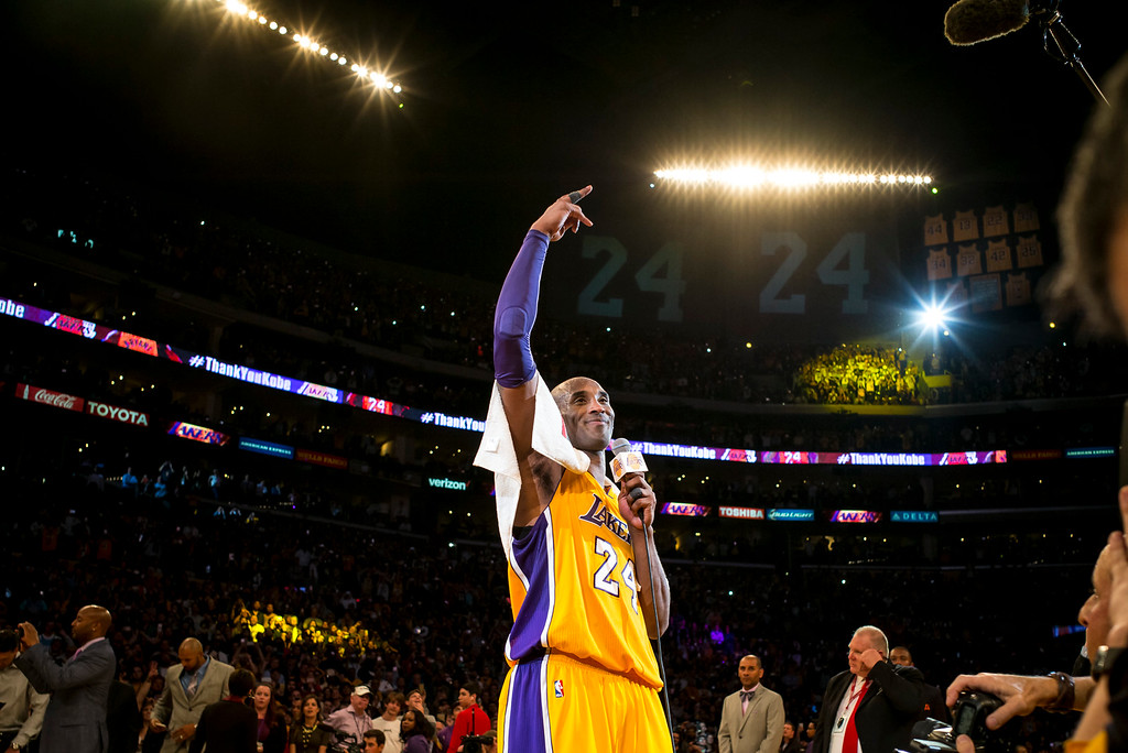 . Kobe Bryant waves to fans after scoring 60 points in the final game of his career against the against the Utah Jazz. April 13, 2016. Los Angeles, CA.  (Photo by David Crane/Southern California News Group)