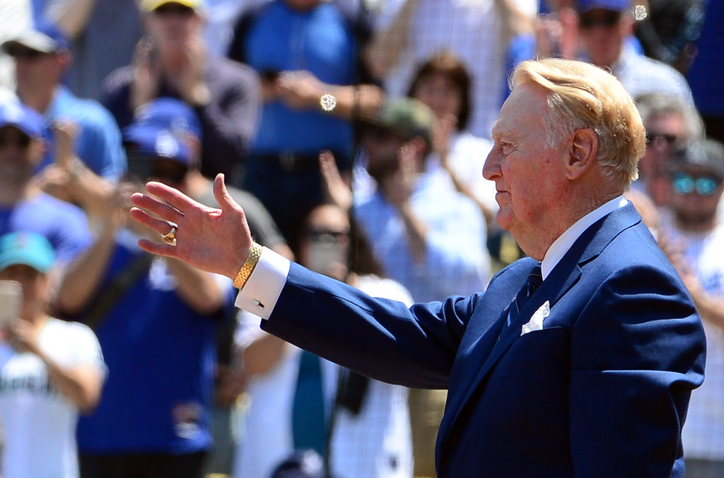 . Hall of Fame Dodgers announcer Vin Scully who is retiring after the end of the season was honored prior to Opening Day of a Major League Baseball game between the Arizona Diamondbacks and the Los Angeles Dodgers on Tuesday, April, 12, 2016 in Los Angeles.  (Photo by Keith Birmingham/ Pasadena Star-News)