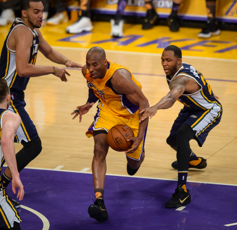 . Kobe Bryant drive for the basket during first half action against the against the Utah Jazz. April 13, 2016. Los Angeles, CA.  (Photo by David Crane/Southern California News Group)