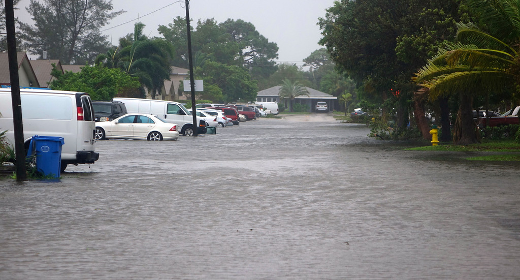 . Streets are flooded by the rains of Hurricane Irma in in Oakland Park Fla., Sunday, Sept. 10, 2017. (Joe Cavaretta/South Florida Sun-Sentinel via AP)