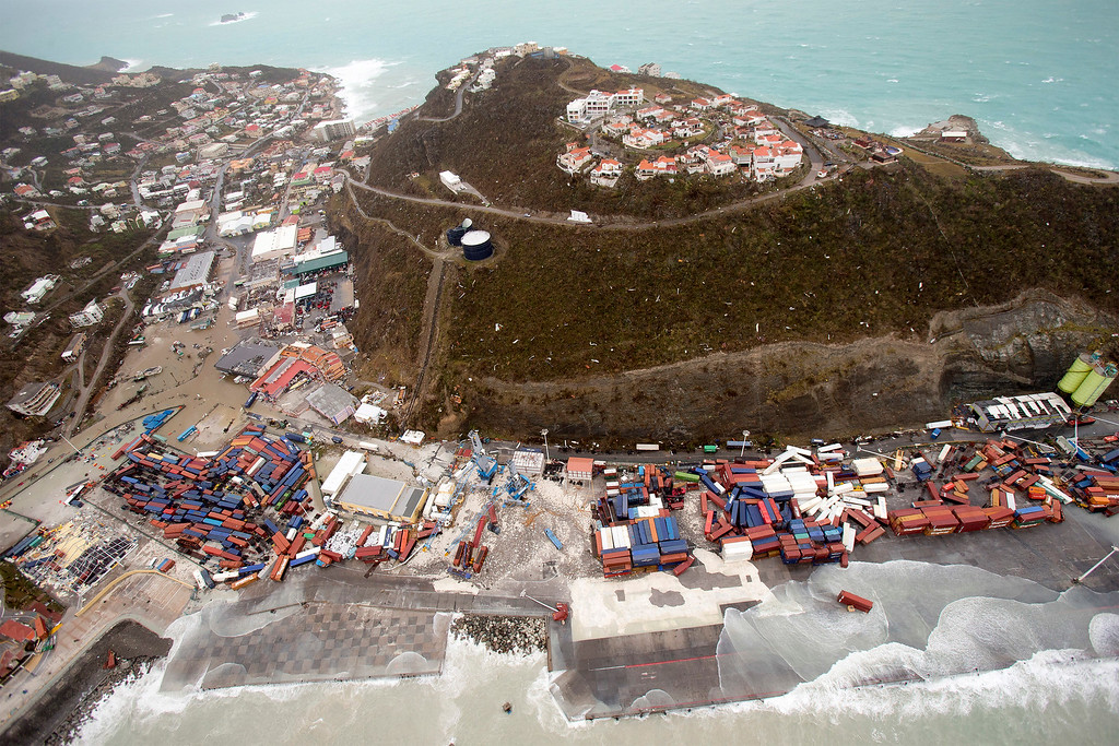 . This Sept. 6, 2017 photo provided by the Dutch Defense Ministry shows a view of St. Maarten, in the aftermath of Hurricane Irma. Irma cut a path of devastation across the northern Caribbean, leaving thousands homeless after destroying buildings and uprooting trees. Significant damage was reported on the island that is split between French and Dutch control. (Gerben Van Es/Dutch Defense Ministry via AP)