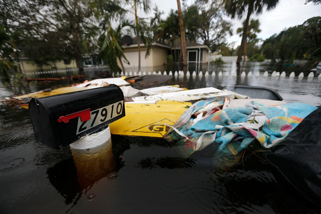 . Floodwaters surround a mailbox in the aftermath of Hurricane Irma in Bonita Springs, Fla., Monday, Sept. 11, 2017. (AP Photo/Gerald Herbert)