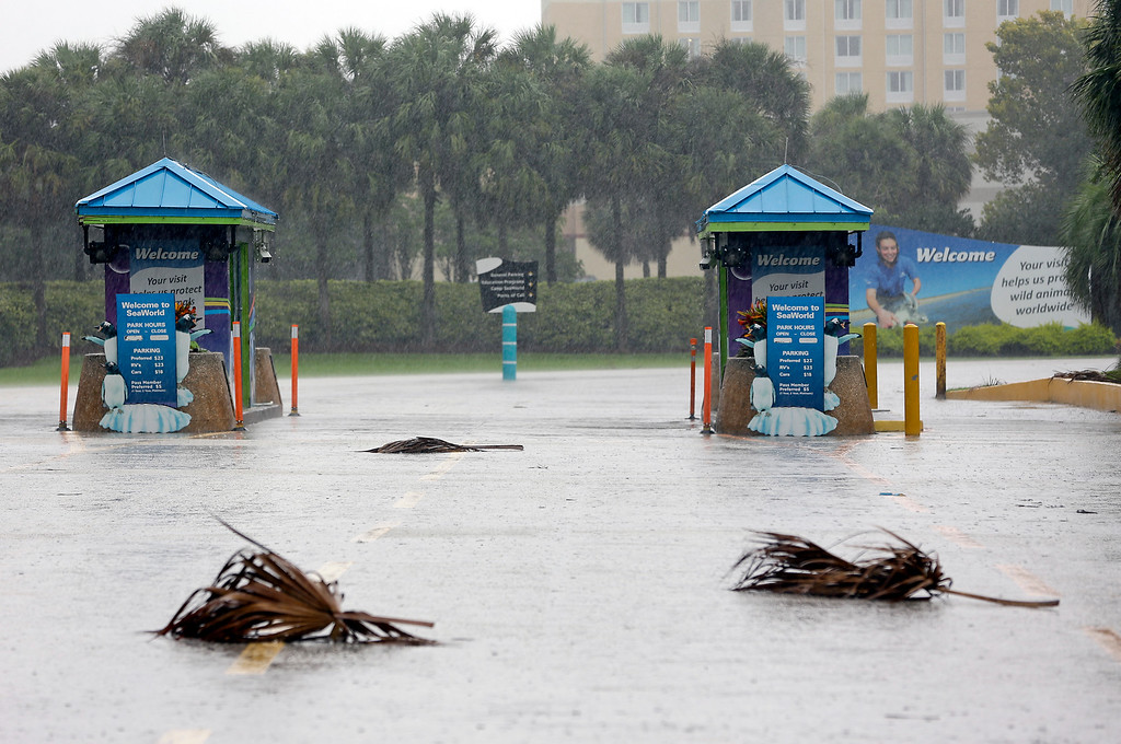 . The entrance to the Sea World of Orlando is closed because of Hurricane Irma approaching the central Florida area, Sunday, Sept. 10, 2017, in Orlando, Fla. Other tourists attractions including Universal Studios and Disney World were also closed and planned to reopen Tuesday. (AP Photo/John Raoux)