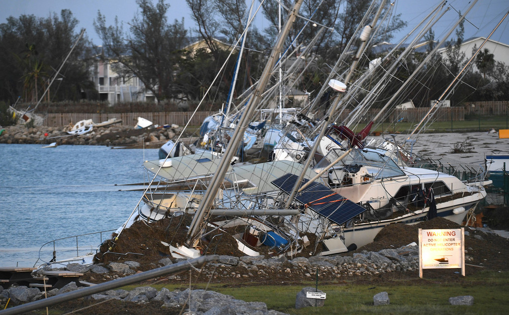 . Damaged houses are shown in the aftermath of Hurricane Irma, Monday, Sept. 11, 2017, in the Florida Keys. (Matt McClain/The Washington Post via AP, Pool)
