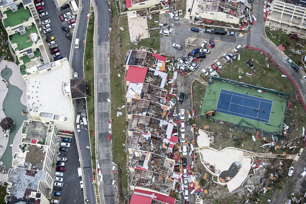 . An aerial photography taken and released by the Dutch department of Defense on September 6, 2017 shows the damage of Hurricane Irma, on the Dutch Caribbean island of Sint Maarten. Hurricane Irma, rampaging across the Caribbean, has produced sustained winds at 183 miles per hour for more than 33 hours, making it the longest-lasting, top-intensity cyclone ever recorded, France\'s weather service said on September 7. (GERBEN VAN ES/AFP/Getty Images)