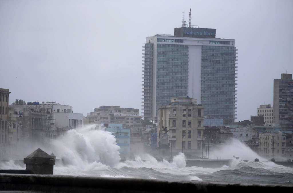 . Waves surge over a sea wall in Havana, Cuba, Saturday, Sept. 9, 2017. There were no reports of deaths or injuries after heavy rain and winds from Hurricane Irma lashed northeastern Cuba. (AP Photo/Ramon Espinosa)