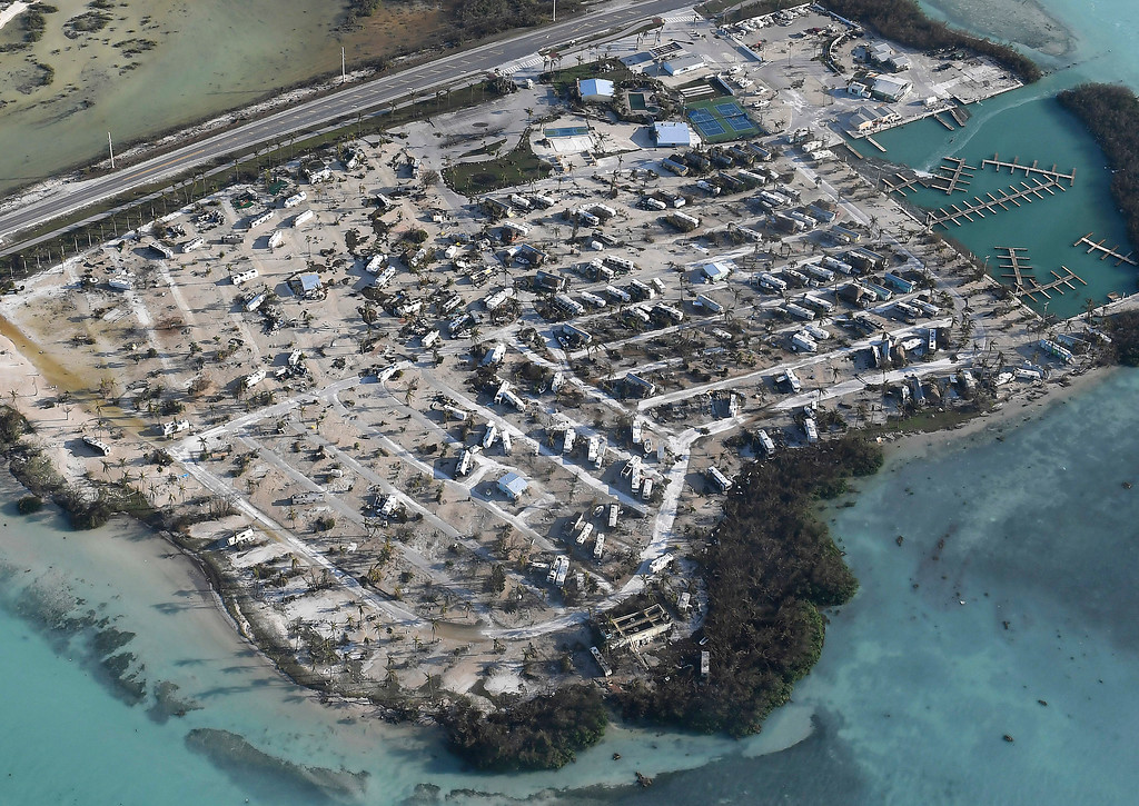 . Overturned trailer homes are shown in the aftermath of Hurricane Irma, Monday, Sept. 11, 2017, in the Florida Keys. (Matt McClain/The Washington Post via AP, Pool)