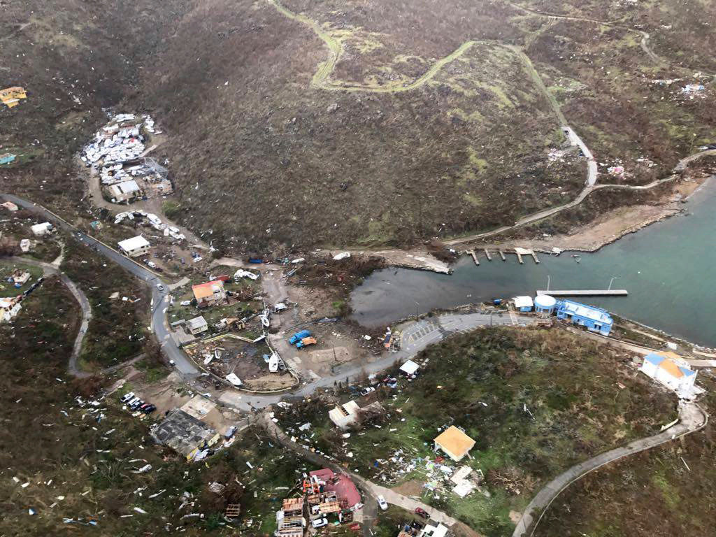 . This photo provided on Friday, Sept. 8, 2017, shows storm damage in the aftermath of Hurricane Irma in Virgin Gorda\'s Gun Creek in the British Virgin Islands. Irma scraped Cuba\'s northern coast Friday on a course toward Florida, leaving in its wake a ravaged string of Caribbean resort islands strewn with splintered lumber, corrugated metal and broken concrete. (Caribbean Buzz Helicopters via AP)
