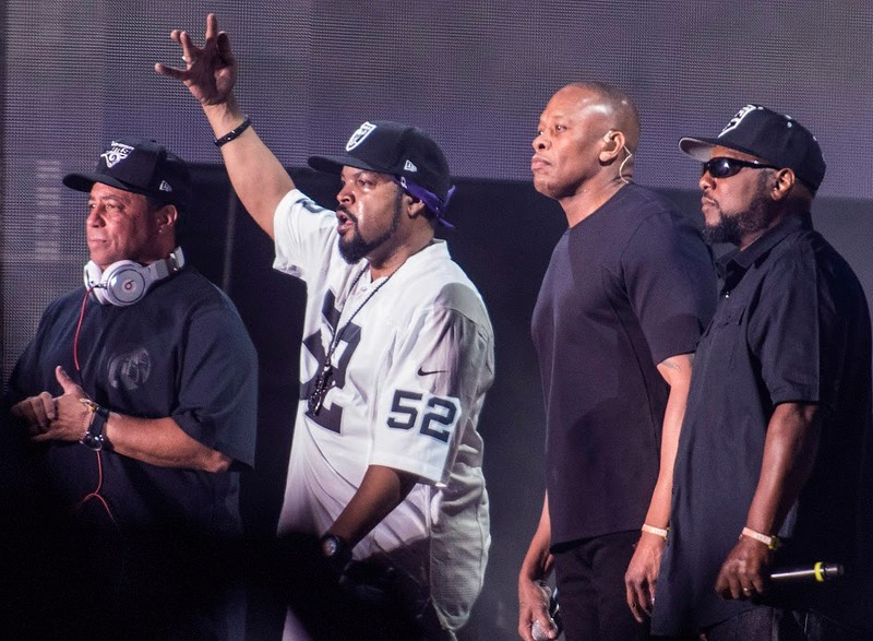 . From left to right: DJ Yella, Ice Cube, Dr. Dre and MC Ren, the surviving members of N.W.A.,at Coachella Day 2 week 2 in Indio, Saturday April 23, 2016.