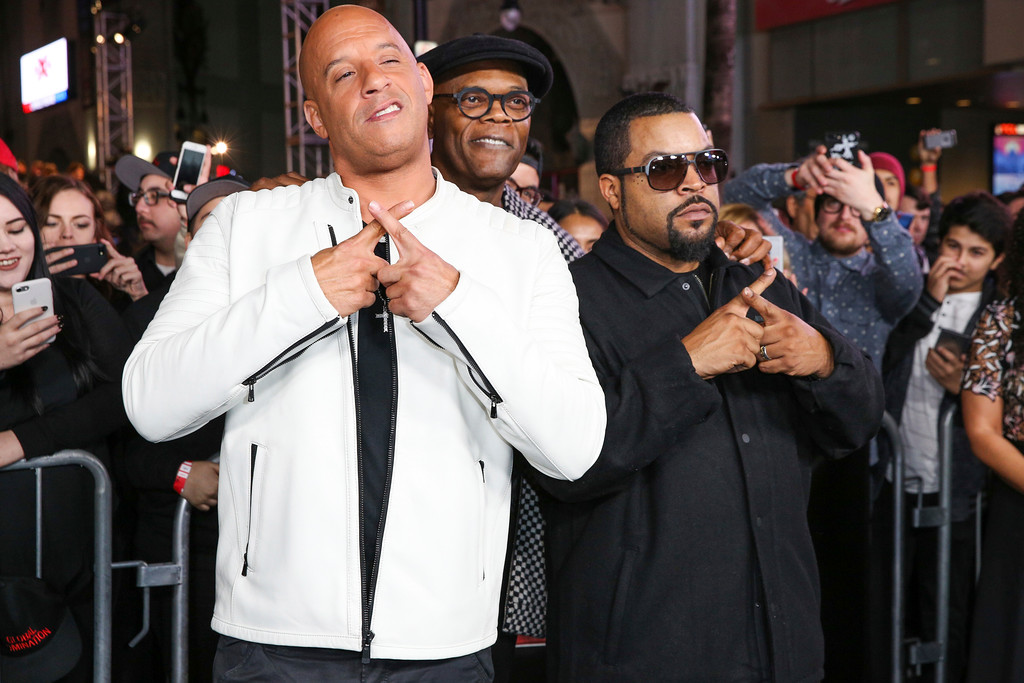 ". Vin Diesel, from left, and Samuel L. Jackson and Ice Cube arrive at the LA Premiere of ""xXx: Return of Xander Cage\"" at TCL Chinese Theater IMAX on Thursday, Jan. 19, 2017, in Los Angeles. (Photo by Rich Fury/Invision/AP)"