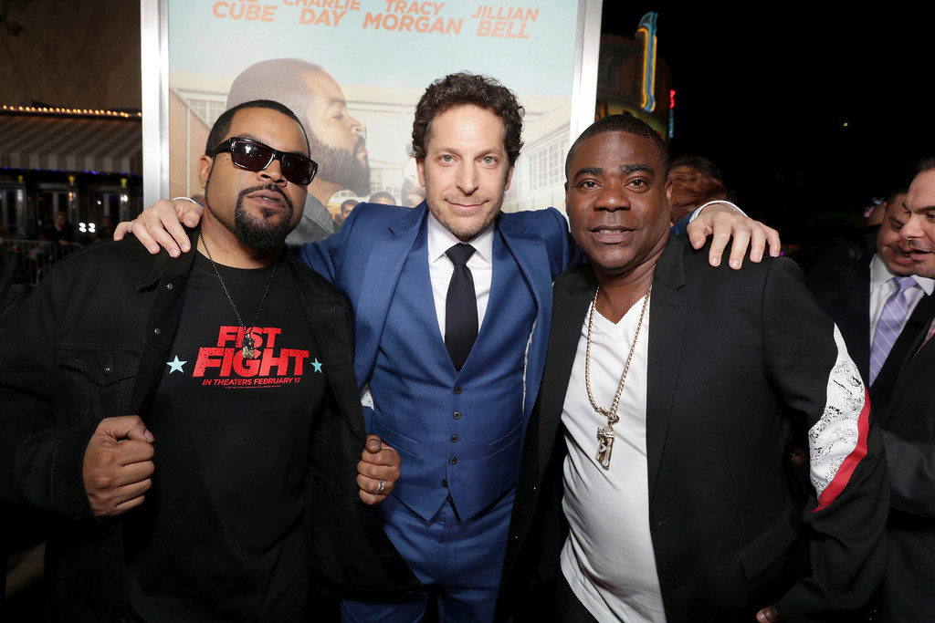 ". Executive Producer/Actor Ice Cube, Director Richie Keen and Tracy Morgan seen at New Line Cinema Presents the World Premiere of ""Fist Fight\"" at Regency Village Theatre on Monday, Feb. 13, 2017, in Los Angeles. (Photo by Eric Charbonneau/Invision for Warner Bros/AP Images)"