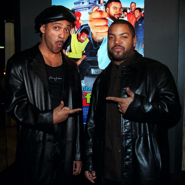 ". Mike Epps, left, and Ice Cube, stars of the new comedy ""Next Friday,\"" pose together at the premiere of the film, Tuesday, Jan. 11, 2000, in the Hollywood section of Los Angeles. Ice Cube also wrote and produced the film, which is a sequel to the 1995 film \""Friday.\"" (AP Photo/Chris Pizzello)"