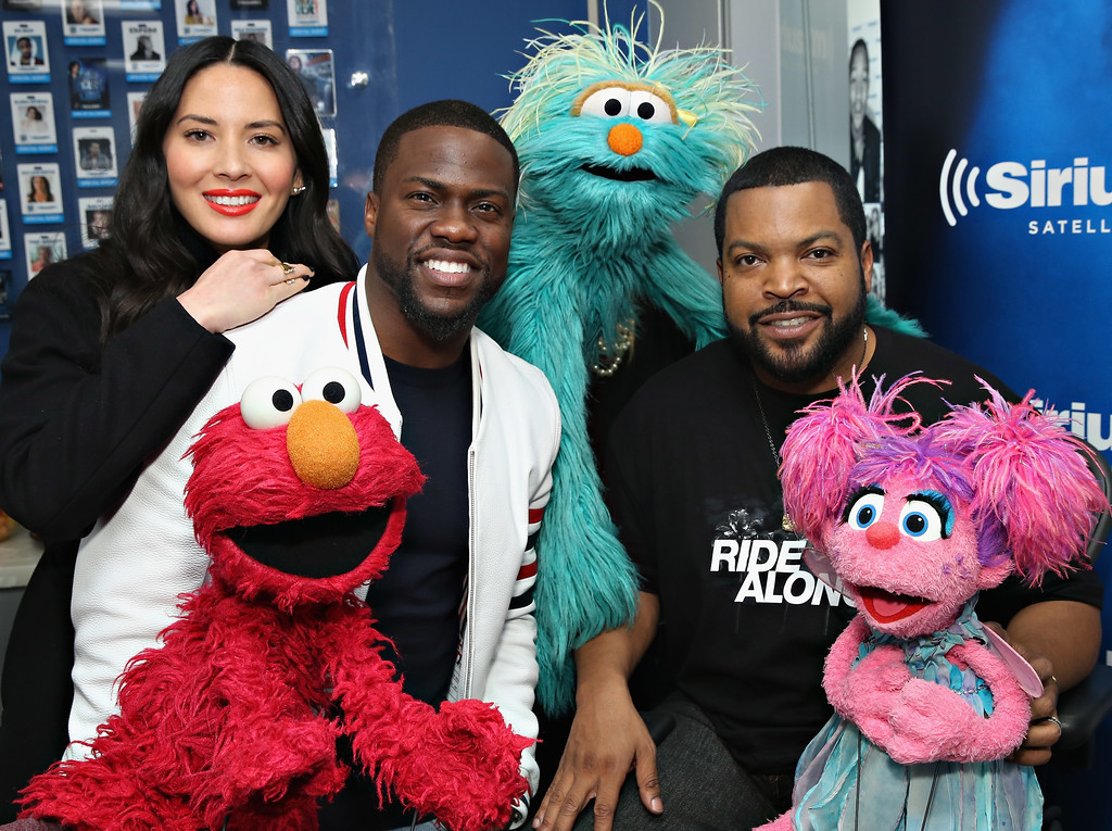 ". NEW YORK, NY - JANUARY 13:  Olivia Munn, Elmo, Kevin Hart, Rosita, Ice Cube and Abby Cadabby pose for a photo before taking part in SiriusXM ""Town Hall\"" With Kevin Hart, Ice Cube And Olivia Munn at the SiriusXM Studios on January 13, 2016 in New York City.  (Photo by Cindy Ord/Getty Images for SiriusXM)"