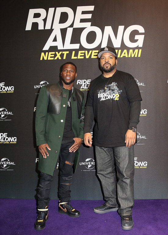 . BERLIN, GERMANY - JANUARY 18:  Kevin Hart (L) and Ice Cube pose during a photo call for the film \'Ride Along: Next Level Miami\' at Kino in der Kulturbrauerei on January 18, 2016 in Berlin, Germany.  (Photo by Adam Berry/Getty Images)