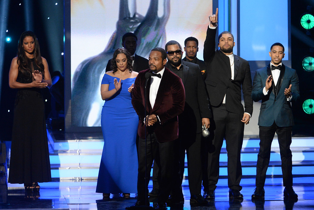 ". The cast of ""Straight Outta Compton\"" accept the award for Outstanding Motion Picture at the 47th NAACP Image Awards at the Pasadena Civic Auditorium on Friday, Feb. 5, 2016, in Pasadena, Calif. (Photo by Phil McCarten/Invision/AP)"