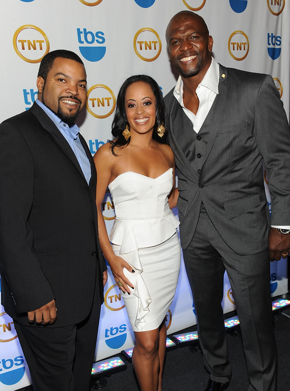 . \'Are We There Yet?\' cast members from left, Ice Cube, Essence Atkins and Terry Crews attend the TNT and TBS Upfront presentation at the Hammerstein Ballroom on Wednesday, May 19, 2010 in New York. (AP Photo/Evan Agostini)