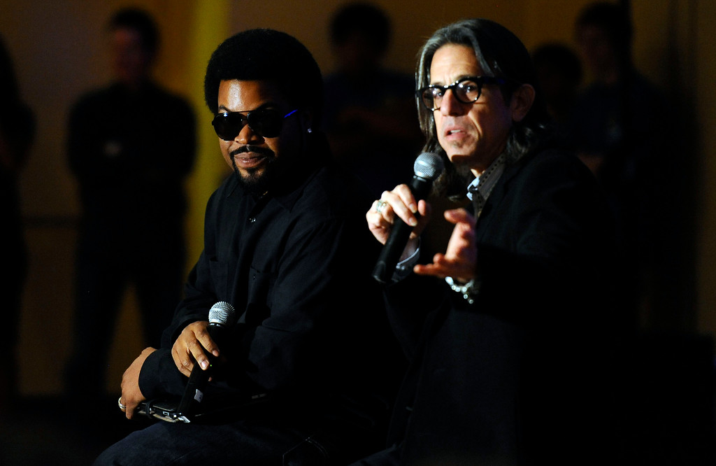 . Grammy Foundation President Scott Goldman hosts a Q&A with Ice Cube at Ice Cube\'s alma mater Taft High School Monday. October 3, 2011. Along with Ice Cube\'s appearance there was a presentation of a $5,000 donation on behalf of Best Buy Mobile and the Grammy Foundation to Taft High School in support of the school\'s music program. (Hans Gutknceht/Los Angeles Daily News)