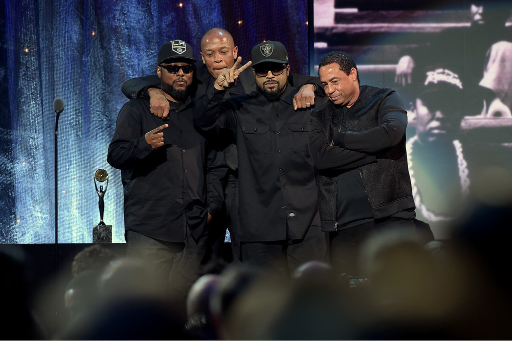 . NEW YORK, NEW YORK - APRIL 08:  MC Ren, Dr. Dre, Ice Cube and DJ Yella of N.W.A. speak onstage at the 31st Annual Rock And Roll Hall Of Fame Induction Ceremony at Barclays Center on April 8, 2016 in New York City.  (Photo by Theo Wargo/Getty Images)