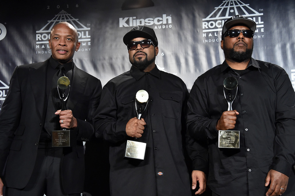 . NEW YORK, NEW YORK - APRIL 08:  (L-R) Dr. Dre, Ice Cube, and MC Ren pose in the press room at the 31st Annual Rock And Roll Hall Of Fame Induction Ceremony at Barclays Center of Brooklyn on April 8, 2016 in New York City.  (Photo by Mike Coppola/Getty Images)