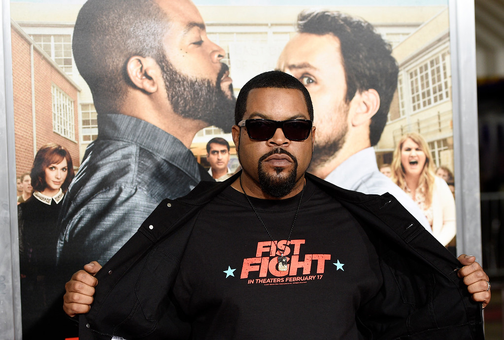 ". Ice Cube, a cast member in ""Fist Fight,\"" poses at the premiere of the film on Monday, Feb. 13, 2017, in Los Angeles. (Photo by Chris Pizzello/Invision/AP)"
