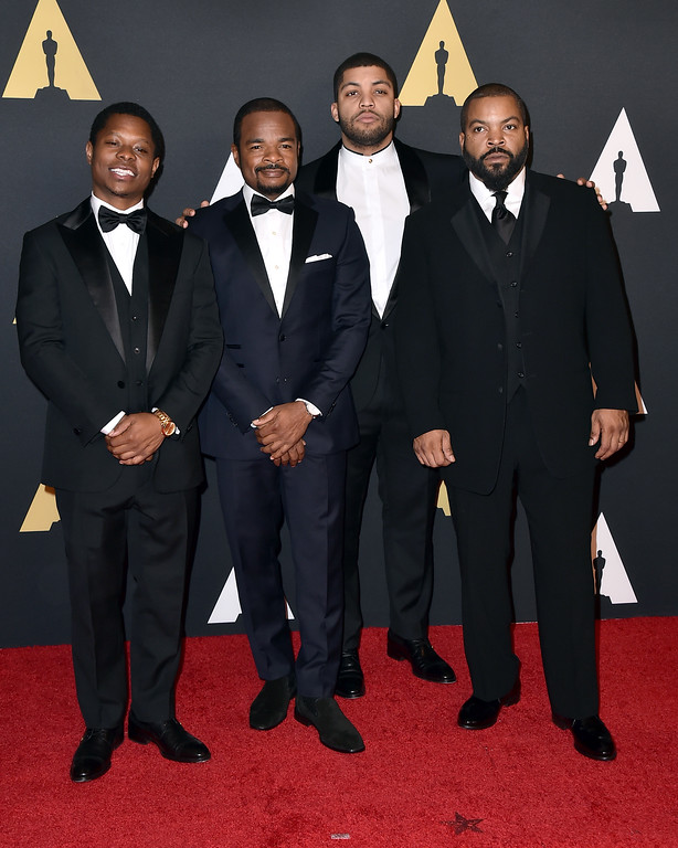 . Jason Mitchell, from left, F. Gary Gray, O\'Shea Jackson Jr., and Ice Cube arrive at the Governors Awards at the Dolby Ballroom on Saturday, Nov. 14, 2015, in Los Angeles. (Photo by Jordan Strauss/Invision/AP)