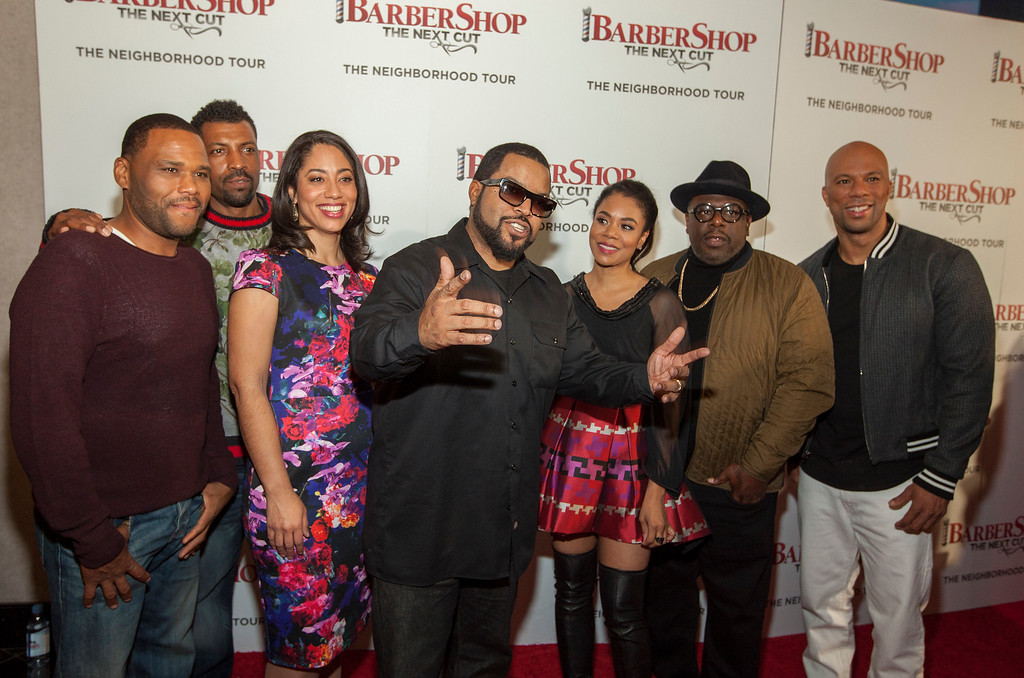 . Actors Anthony Anderson, Deon Cole, Liz Dozier, Ice Cube, Regina Hall, Cedric the Entertainer and Common at the Chicago Premiere of Barbershop: The Next Cut, at the Kerasotes Showplace Icon Theatre on Monday, March 14, 2016 in Chicago (Photo by Barry Brecheisen/Invision/AP)