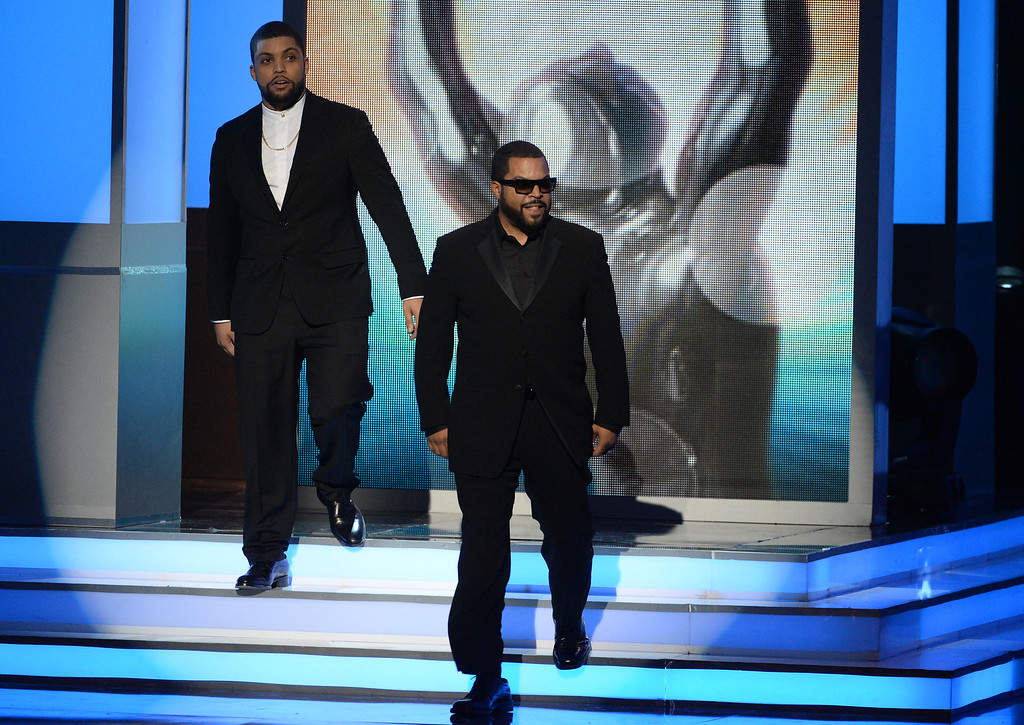 . O�Shea Jackson Jr., left, and Ice Cube present the award for outstanding actress in a motion picture at the 47th NAACP Image Awards at the Pasadena Civic Auditorium on Friday, Feb. 5, 2016, in Pasadena, Calif. (Photo by Phil McCarten/Invision/AP)