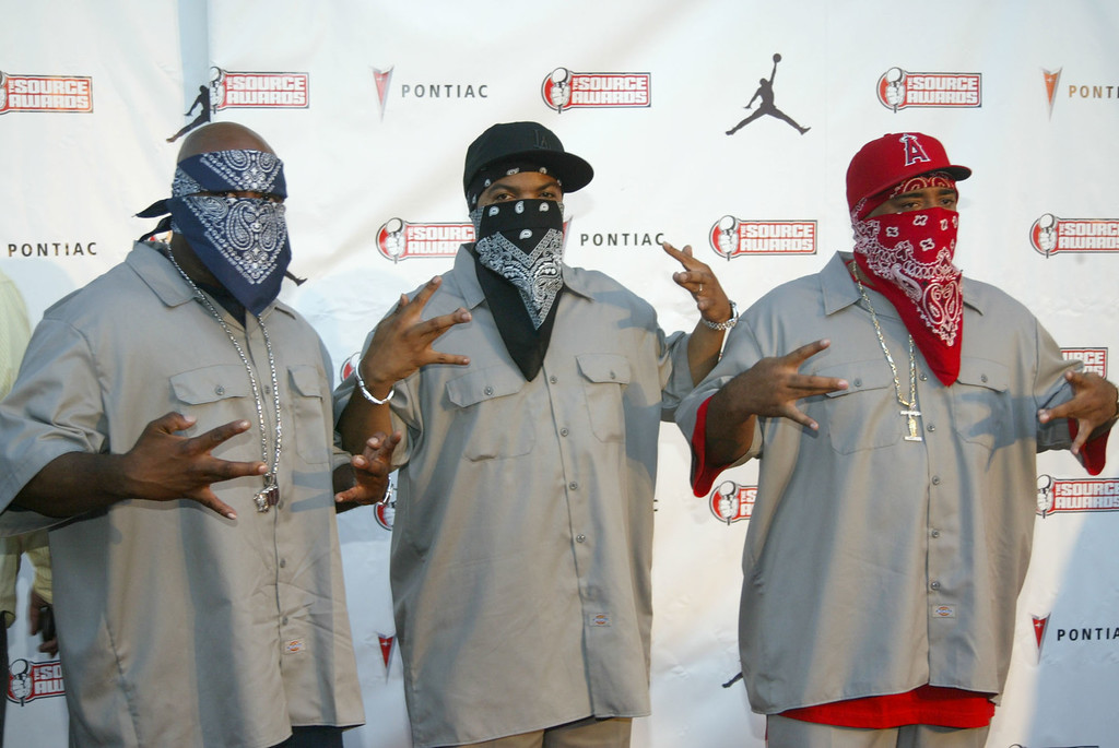 . WC, left, Ice Cube, center and Mack 10, right, pose as they arrive at the Source Hip-Hop Music Awards Monday, Oct. 13, 2003 in Miami. (AP Photo/Wilfredo Lee)