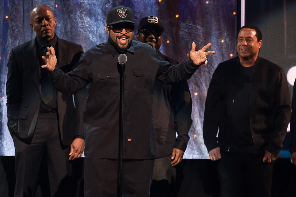 . Inductees Dr. Dre, from left, Ice Cube, MC Ren and DJ Yella from N.W.A appear at the 31st Annual Rock and Roll Hall of Fame Induction Ceremony at the Barclays Center on Friday, April 8, 2016, in New York. (Photo by Charles Sykes/Invision/AP)