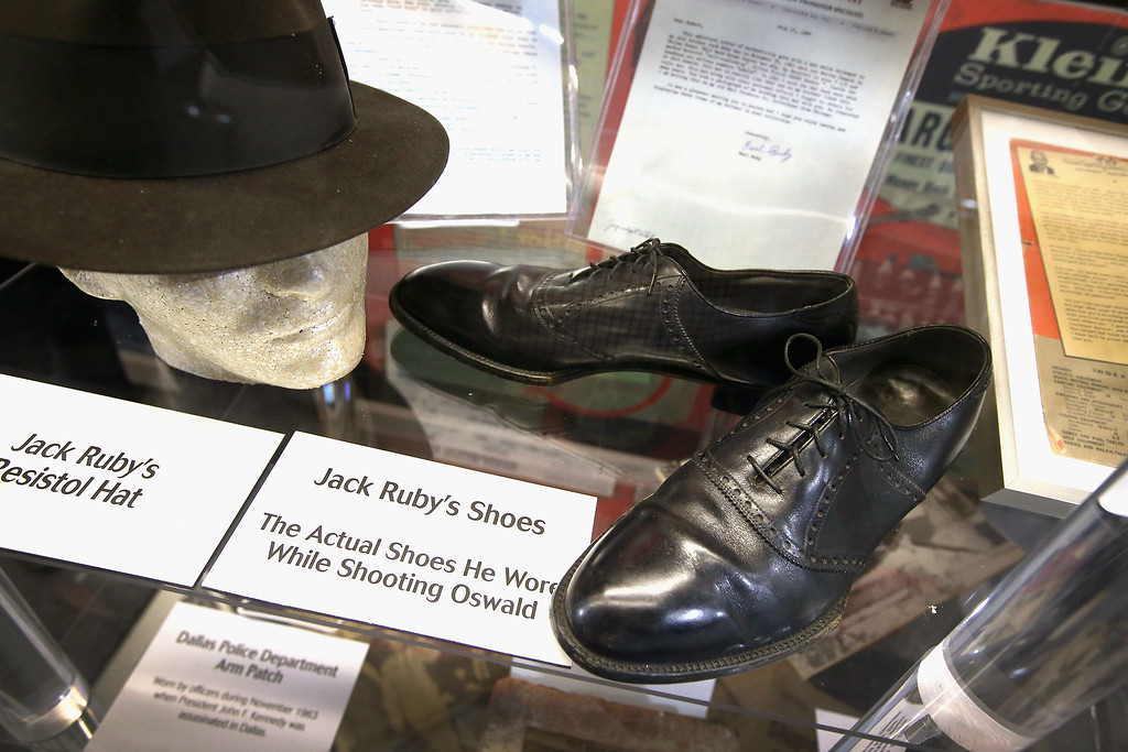 . Jack Ruby\'s hat and the shoes he was wearing when he shot and killed Lee Harvey Oswald, accused assassin of President John F. Kennedy, is displayed at the Historic Auto Attractions museum on November 19, 2013 in Roscoe, Illinois. The museum has a large collection of items from Kennedy\'s life and death on display. It has been fifty years since John F. Kennedy was assassinated on November 22, 1963.  (Photo by Scott Olson/Getty Images)