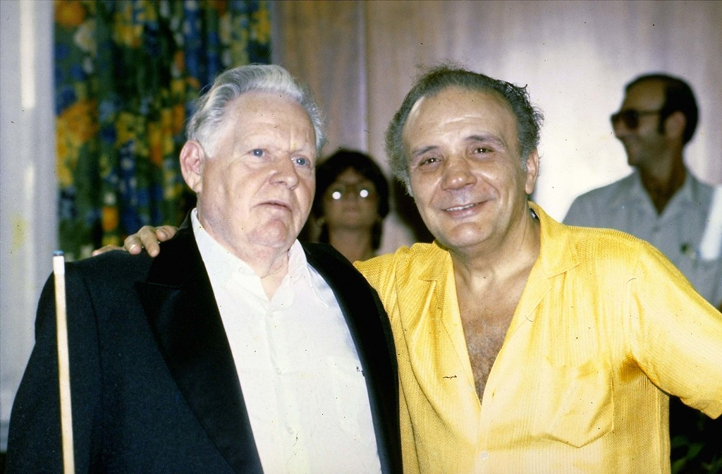 . This is an August 7, 1981 photo of Jake LaMotta with pool player Minnesota Fats (left).  Minnesota Fats, whose real name is Rudolph Walter Wanderone, Jr., was inducted into the professional pool players\' Hall of Fame for his support of and showmanship in the game.  (AP Photo)