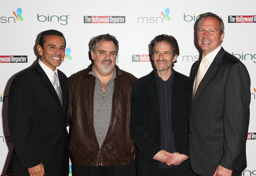 . Mayor Antonio Villaraigosa, producer Jon Landau, composer James Horner and publisher of The Hollywood Reporter Eric Mika attend The Hollywood Reporter\'s and the Mayor of Los Angeles\' Oscar Nominees\' Night presented by Bing and MSN at The Getty House on March 4, 2010 in Los Angeles, California.  (Photo by Angela Weiss/Getty Images)