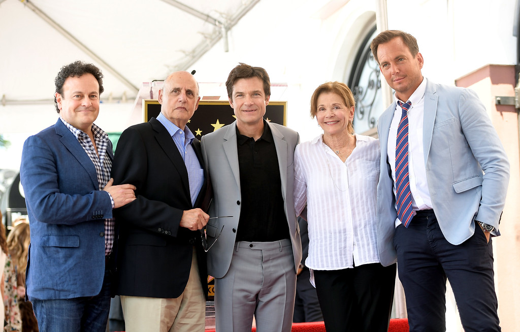 . HOLLYWOOD, CA - JULY 26:  (L-R) Mitchell Hurwitz, Jeffrey Tambor, Jason Bateman, Jessica Walter, Will Arnett attends The Hollywood Walk of Fame Star Ceremony honoring Jason Bateman on July 26, 2017 in Hollywood, California.  (Photo by Matt Winkelmeyer/Getty Images)