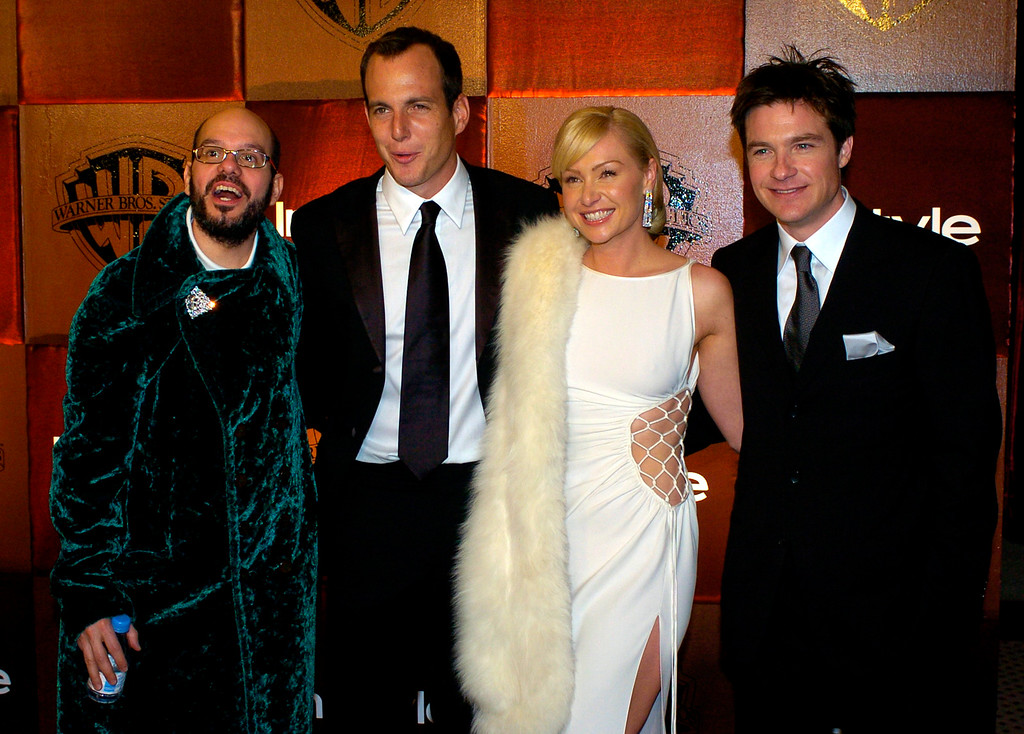 . The cast of Arrested Development, from left, David Cross, Will Arnett, Portia de Rossi and Jason Batemen, arrive for the In Style magazine and Warner Bros. party after the 61st Annual Golden Globe Awards on Sunday, Jan. 25, 2004, in Beverly Hills, Calif. (AP Photo/Mark J. Terrill)