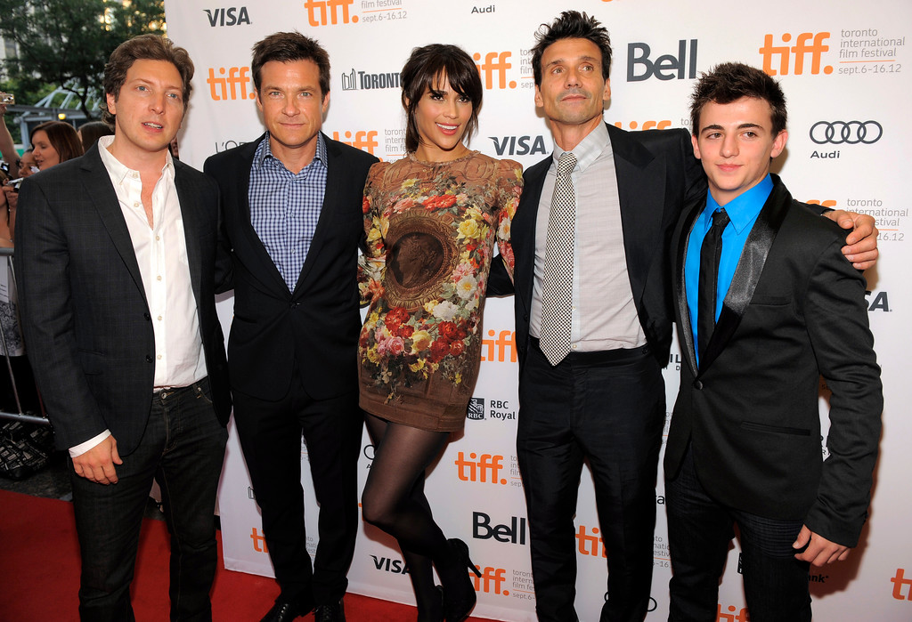 ". Henry Alex Rubin, left, director of the film ""Disconnect,\"" poses with cast members, from left, Jason Bateman, Paula Patton, Frank Grillo and Aviad Bernstein, at the premiere of the film at the 2012 Toronto Film Festival, Tuesday, Sept. 11, 2012, in Toronto. (Photo by Chris Pizzello/Invision/AP)"