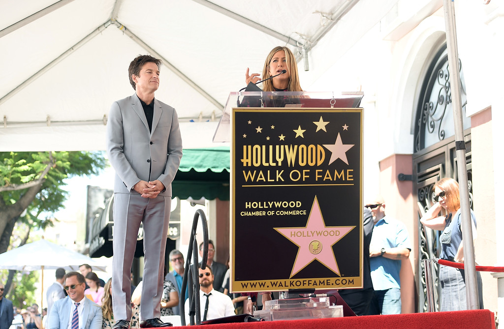 . HOLLYWOOD, CA - JULY 26:  Jason Bateman (L) and Jennifer Aniston attend The Hollywood Walk of Fame Star Ceremony honoring Jason Bateman on July 26, 2017 in Hollywood, California.  (Photo by Matt Winkelmeyer/Getty Images)