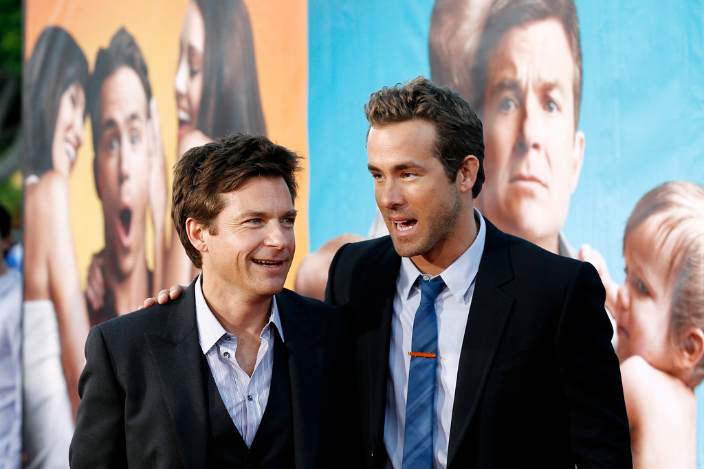 """. Cast members Ryan Reynolds, right, and Jason Bateman pose together at the premiere of \""""The Change-Up\"""" in Los Angeles, Monday, Aug. 1, 2011. \""""The Change-Up\"""" opens in theaters Aug. 5, 2011. (AP Photo/Matt Sayles)"""