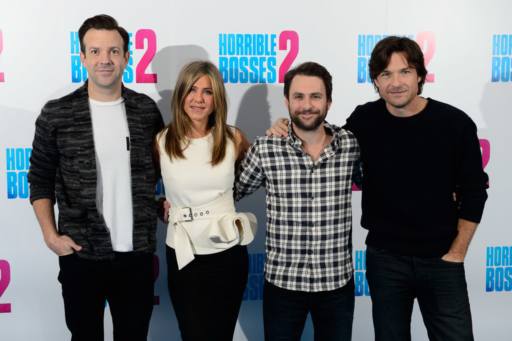 . From left, actors Jason Sudeikis, Jennifer Aniston, Charlie Day and Jason Bateman pose for photographers at a photo call for Horrible Bosses 2 at a central London venue, London, Thursday, Nov. 13, 2014. (Photo by Jonathan Short/Invision/AP)