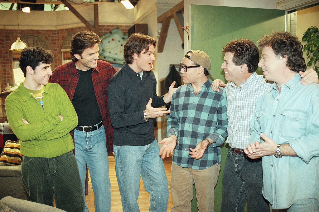 ". Actor Jason Bateman, third from left, who plays Harry on the NBC comedy show ""Chicago Sons,\"" talks with cast members from the 1960\'s TV show \""My Three Sons,\"" from left to right, actors Barry Livingston (Ernie, with glasses), Don Grady (Rob) and Stanley Linvingston (Chip), after a cameo appearance during taping of the show on Monday, Jan. 20, 1997 in Burbank, California. Listening in are fellow cast members of Bateman, David Krumholtz (Billy), far left, and D.W. Moffett (Mike). (AP Photo/Kevork Djansezian)"