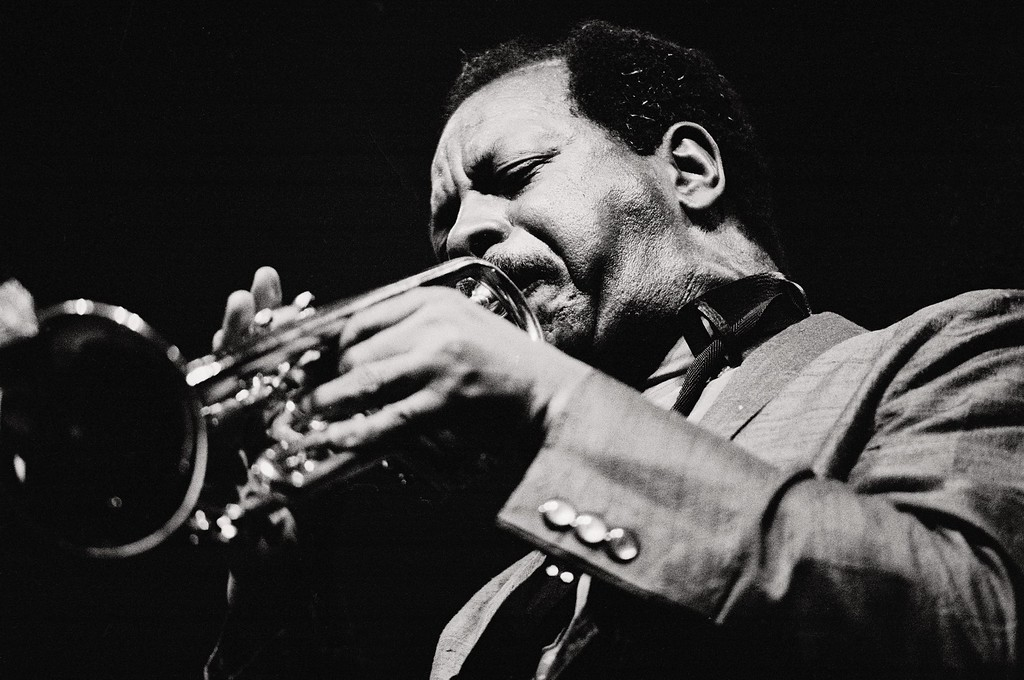 . Ornette Coleman, jazz musician Coleman blowing the trumpet  (Photo by Matias Nieto/Cover/Getty Images)