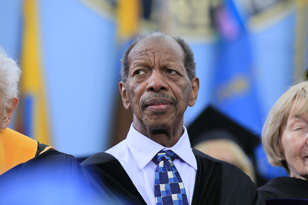 . Jazz musician Ornette Coleman is pictured before receiving his honorary doctor of music degree at the University of Michigan commencement ceremony in Ann Arbor, Saturday, May 1, 2010. (AP Photo/Charles Dharapak)
