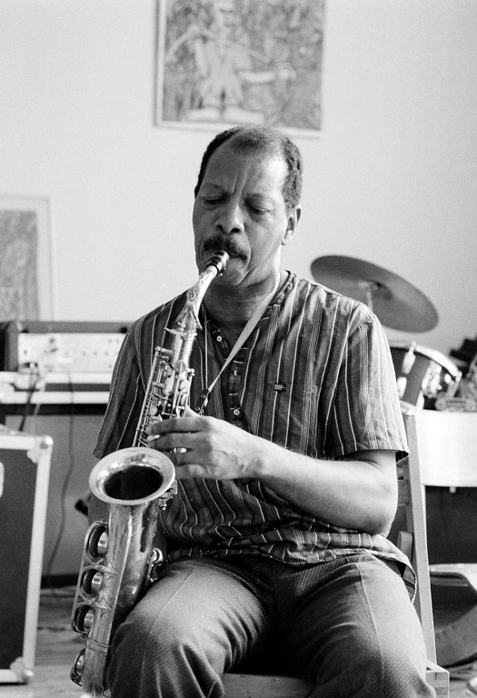 . Saxophonist Ornette Coleman, pioneer of atonal free-form jazz, plays the saxophone in his lower Manhattan studio, Friday, June 21, 1985.  (AP Photo/Mario Suriani)