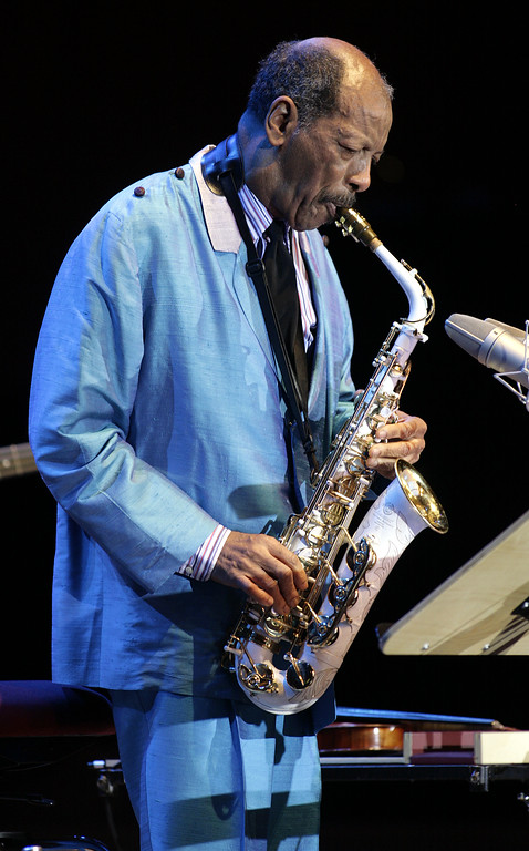 ". Ornette Coleman plays the sax during a concert in Germany at the philharmonic concert house in Essen, on Feb. 14, 2007. He won the 2007 Pulitzer Prize for music for ""Sound Grammar,\"" on Monday, April 16, 2007(AP Photo/Martin Meissner)"